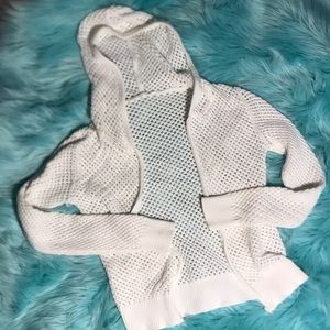 Sweaters - White mesh hoodie sweater small
